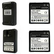 2X New Battery + Charger for HTC EVO 3D EVO V Sensation Sprint 4G G14 G18 G21