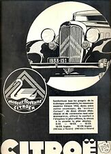 """Publicité Automobile: CITROËN """"Moteur Flottant"""" 1933"""