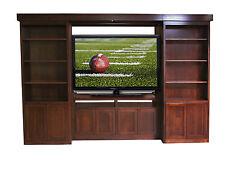 Custom Built Solid Wood TV Entertainment Center Library Shelf Sliding Cabinets