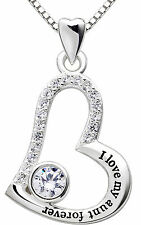 ALOV Sterling Silver I love my aunt forever Love Heart Pendant Necklace Gift