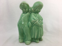 Vintage Planter Dutch Boy and Girl Standing Against Tree Stump American Pottery