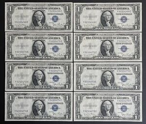 1935-D Silver Certificate $1 Blue Seal Dollar Bill Consecutive- Lot Of 8 (C909)