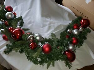 Pottery Barn Garland Pine And Red/silver Balls