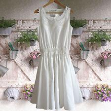 WEIß BOHO Sommerkleid Baumwollkleid KLEID Spitze Tellerrock Gr.38 M Baumwolle