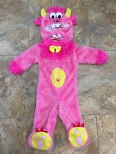 Infant Girls Pink Fuzzy Furry Baby Monster Halloween Costume Size 12-18 Months