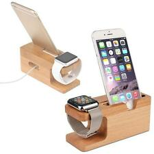 Bamboo Wood Charging Dock Station Charger Holder Stand for Apple Watch iPhone