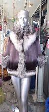 STUNNING Mink Fur Cape Jacket Fox Fur Plum Degradé Ombré