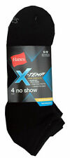 """Hanes Men's X-TEMP Black No Show Socks 4-Pack size 6-12 """" Arch Support """" """"COOL"""""""