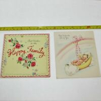 VINTAGE GREETING CARD NEW BABY LOT 2 MID-CENTURY SPARKLES ASSORTED CARDS USE