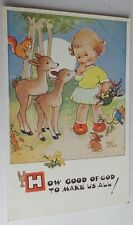 """ORIGINAL MABEL LUCIE ATTWELL POSTCARD 5330 """"HOW GOOD OF GOD TO MAKE US ALL!"""""""