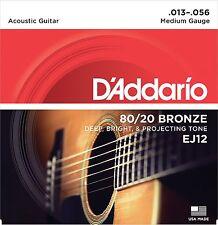 1 Set D'Addario EJ12 Medium 80/20 Bronze Acoustic Guitar Strings