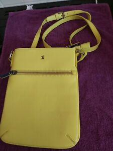 Joules messenger handbag Mustard yellow with navy blue trim
