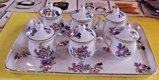 Ancien Plateau & 6 pots à Lait tasse thé café Faïences Décor Floral Vintage