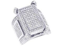 Ladies 10K White Gold Genuine Diamond Square Engagement Wedding Ring 3 CT 25MM
