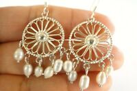 Cultured White Pearls 925 Sterling Silver Dangle Earrings
