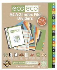 1 Set x 24pk eco-eco A4 50% Recycled A-Z Wide Index File Plastic Dividers