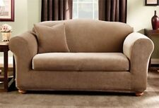 NEW Stretch stripe Brown Box-cushion LOVESEAT surefit sure fit  slipcover