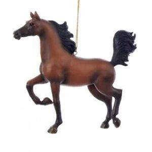 Kurt Adler #C8527 Resin Galloping Horse Christmas Ornament--Brown w/Black Mane