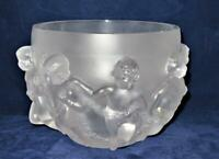 """Lalique Art Glass LUXEMBOURG Cherubs Frosted French Crystal Bowl Vase, 8 1/2"""""""