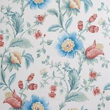 Vintage Floral Wallpaper Painterly Watercolour Effect Blue Green Red Flowers