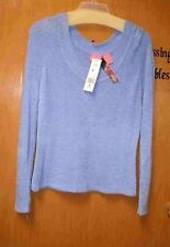 Blue Chenille Sweater Long Sleeves Large Scoop front & back Neck size Medium.
