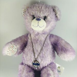 """BAB Build a Bear Plush Toy I CARLY Purple Silver Glitter Bear 16"""" With Necklace"""