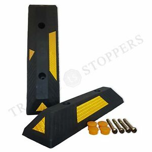 Rubber Parking Wheel Stops that Protect Vehicle Bumper & Garage Wall (Pack of 2)