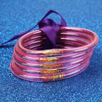 Multi-layer Summer Bow Glitter Bangles Filled Silicone Jelly Bracelets Set SA