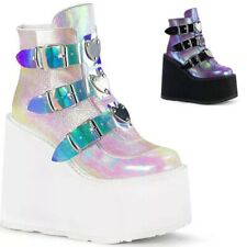 Ladies Ankle Boots Womens Goth Punk Chunky Wedge High Heel Platform Shoes Size