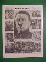 VINTAGE NEWSPAPER HEADLINE ~WORLD WAR 2 GERMAN ADOLF HITLER LIFE DEATH WWII 1945