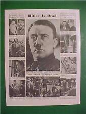 VINTAGE NEWSPAPER HEADLINE ~WORLD WAR GERMANY NAZI ADOLF HITLER DEAD DEATH WWII