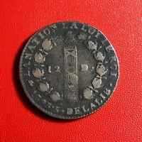 #1516 - RARE - Louis XVI 12 Deniers 1793 D. Lyon - FACTURE