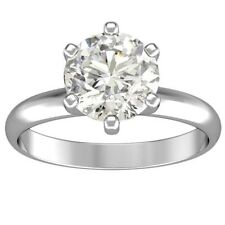 1.01 ct ROUND CUT solitaire diamond engagement Ring 14k WHITE GOLD F VS2