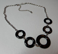 """LOVELY BLACK ENAMEL RINGS SHORT SILVER PLATED CHAIN NECKLACE 16"""" 40 cm"""