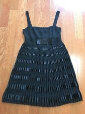 RED VALENTINO Black Satin Bow Pleated Sleeveless Cocktail Dress Ital Size 40
