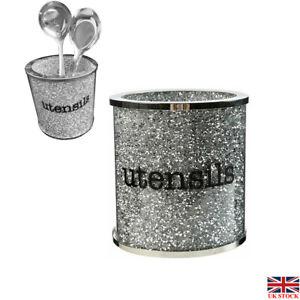 UK Sparkly Crushed Diamond Crystal Filled Utensil Holder, Kitchen Bling Gift