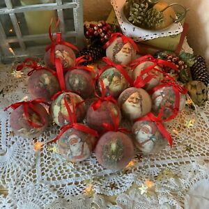 Set of 14 Traditional Style Red Christmas Tree Baubles - In Box - Ornaments