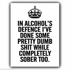 METAL SIGN WALL PLAQUE KEEP CALM IN ALCOHOL'S DEFENCE ... print poster picture