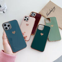 For iPhone 12 Pro Max 11 XS XR X 8 7 Plus Heart Plating Silicone Soft Case Cover