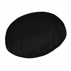 Qh23n Black Thick Linen Cotton Blend Round Cushion Cover/Pillow Case Custom Size