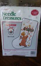 "Needle Treasures Xmas Angel Stocking Hummel Advent Wreath crewel kit 10x16"" NEW"