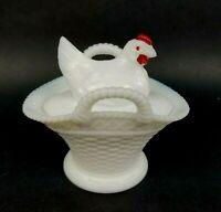 Vtg Westmoreland Hen Chicken on Nest Basket Weave Covered Dish Milk Glass HON