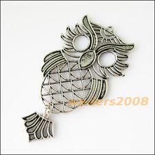 2 New Hollow Owl Birds Animal Tibetan Silver Tone Charms Pendants 37.5x72mm