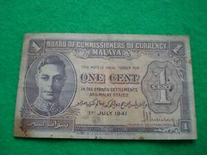 1941 Malaya One Cent Banknote nice collectable condition.