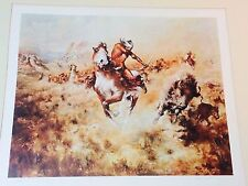 """Vintage Buck McCain """"THE GREAT HUNT"""" Lithograph Signed in Pencil 1975"""