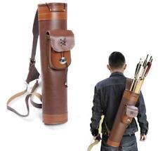 Archery Back Arrow Quiver Leather Holder Hunting Target Shoulder Bag Pouch Brown