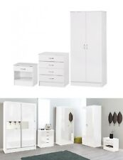 3pcs White Gloss Wooden Furniture Set – Wardrobe 4-drawers Chest Bedside Cabinet