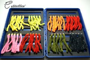 eliteflies 40 Shimmy Chenille Worm Bung Barbless box fly fishing flies trout