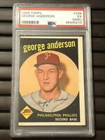 1959 Topps # 338 - SPARKY ANDERSON - Rookie RC - PSA 5 EX (MC) - HOF (0210)