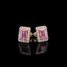 1.50CT Emerald Cut Pink Halo Created Diamond Stud Earrings 14k Yellow Gold